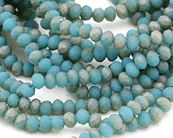 Matte Sky Blue w/ Bronze Luster Crystal Faceted Rondelle 4mm