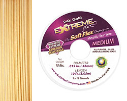 "Soft Flex Extreme 24K Gold .019"" (Medium) 19 Strand Wire 10ft."