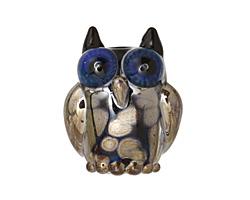 Grace Lampwork Black w/ Silver Metallic Free Style Owl 19-20mm