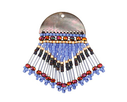 Desert Flower Black Lip Shell Woven Fringe Focal 25x40mm