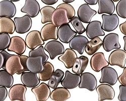 Matte Metallic Leather Matubo Ginkgo Leaf 7.5mm Seed Bead