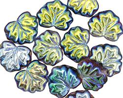 Czech Glass Iris Blue on Dark Forest Maple Leaf 10x13mm