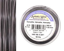Artistic Wire Silver Plated Hematite 18 gauge, 20 feet