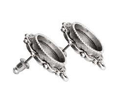 Nunn Design Antique Silver (plated) Mini Ornate Circle Earring 19x22mm
