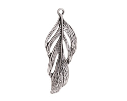 Zola Elements Antique Silver Finish Feather Focal 21x56mm
