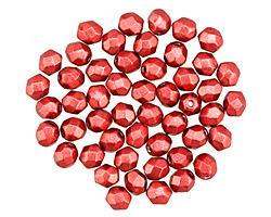 Czech Fire Polished Glass ColorTrends: Saturated Metallic Cherry Tomato Round 4mm