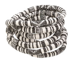 Vintage Black & White Round Woven Cotton Cord 6mm