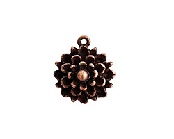 Nunn Design Antique Copper (plated) Mum Flower Charm 17x19mm