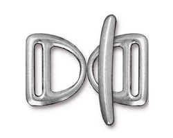 TierraCast Rhodium (plated) Slotted D Ring Clasp Set 17x20mm, 30mm bar