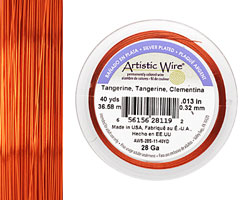Artistic Wire Silver Plated Tangerine 28 gauge, 40 yards