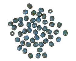 Czech Glass Opaque Blue Picasso Fire Polished Round 3mm