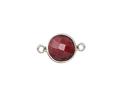 Ruby (enhanced) Faceted Coin Link in Sterling Silver 17x11mm