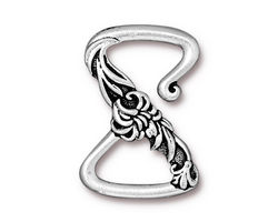 TierraCast Antique Silver (plated) Floral Z Hook Clasp 28x19mm