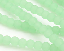 Light Opaque Green Recycled Glass Round 4mm