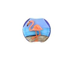 Grace Lampwork Flamingo Lentil 15x16mm