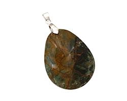 African Green Opal Flat Freeform Teardrop w/ Bail Pendant 33-37x43-47mm