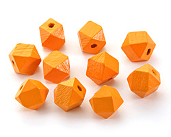 Marigold Wood Faceted Nugget 14mm