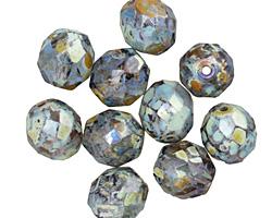 Czech Fire Polished Glass Black Diamond Picasso Round 10mm