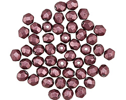 Czech Fire Polished Glass ColorTrends: Saturated Metallic Red Pear Round 4mm