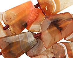 Rustic Orange Banded Agate Faceted Flat Slab 28-45x25-34mm
