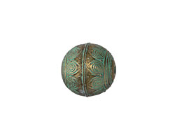 Zola Elements Patina Green Brass Peacock Feathered Sphere Bead 23mm