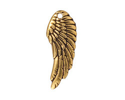 TierraCast Antique Gold (plated) Wing Pendant 10x27mm