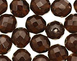 Czech Fire Polished Glass Smoky Topaz Round 12mm