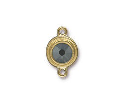 TierraCast Gold (plated) Stepped Bezel Link w/ Jet Hematite Crystal 12x17mm
