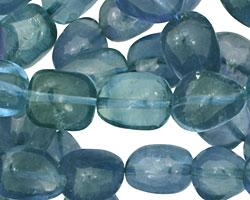 Blue Green Fluorite Tumbled Nugget 9-15x9-14mm