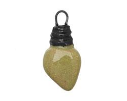 Gaea Ceramic Juju Lime on Tan Small Bulb Charm