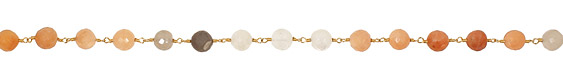 Moonstone (multi) Faceted Round Gold (plated) Bead Chain