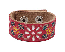 """Hand Painted Red Vintage Daisy Print Leather Cuff 1 1/16"""""""