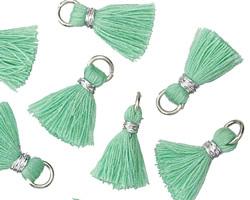 Seafoam w/ Silver Binding & Jump Ring Thread Tassel 18mm