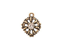 Nunn Design Antique Gold (plated) Flower Crystal Charm 15x18mm