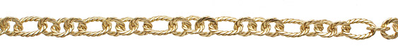 Satin Hamilton Gold (plated) Roped Oval & Ring Chain