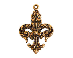Nunn Design Antique Gold (plated) Decorative Fleur Charm 22x32mm