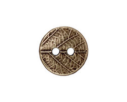 TierraCast Antique Brass (plated) Round Leaf Button 17mm