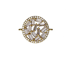 Vintage Style Pave CZ Gold (plated) Coin Focal Link 24x22mm