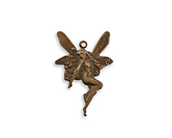 Vintaj Natural Brass Whimsical Nouveau Fairy Charm 17x25mm