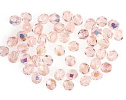 Czech Fire Polished Glass Rosaline AB Round 4mm