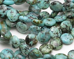 African Turquoise Puff Coin 10mm