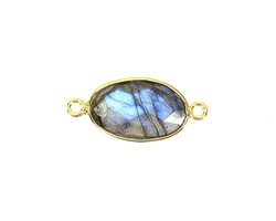 Labradorite Faceted Oval Link in Gold Vermeil 23-25x10mm