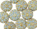 Czech Glass Vanilla Picasso w/ Blue Dahlia Flower Coin 14mm