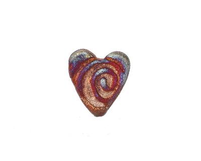 Xaz Raku Stan's Rust Spiral Mini Heart 15mm