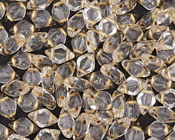 Gold-Lined Crystal GemDuo 8x5mm Seed Bead