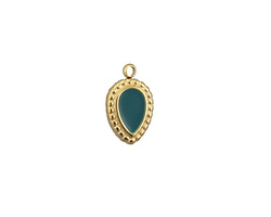 Peacock Enamel Gold (plated) Stainless Steel Beaded Pointed Drop Charm 7x11mm