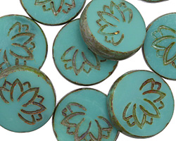 Czech Glass Dark Turquoise Picasso Lotus Coin 18mm