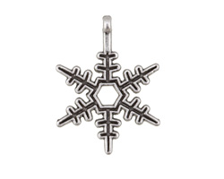 Antique Silver (plated) Snowflake Focal 17x23mm