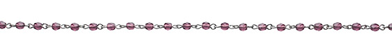 Czech Fire Polished Dark Amethyst Faceted Oval Silver (plated) Bead Chain