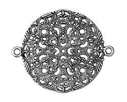 Zola Elements Antique Silver (plated) Delicate Filigree Mandala Focal Link 50x40mm